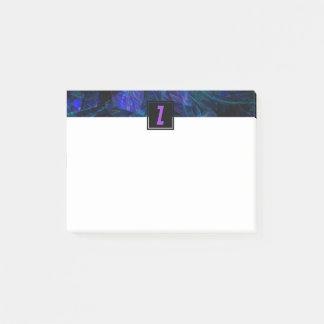 Bloco Post-it Letra inicial do monograma roxo luminoso do