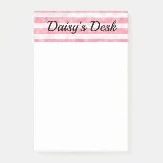 Bloco Post-it Linhas cor-de-rosa e brancas da luz - de Smokey