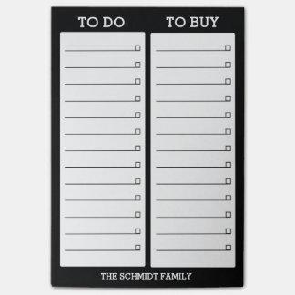 Bloco Post-it Lista personalizada a fazer, para comprar - o