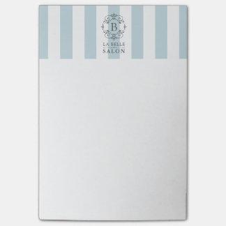Bloco Post-it Listras do toldo do azul francês com monograma do
