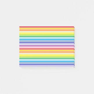 Bloco Post-it Listras mais largas esboçadas branco do arco-íris