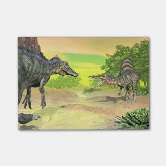 Bloco Post-it Luta dos dinossauros de Spinosaurus - 3D rendem