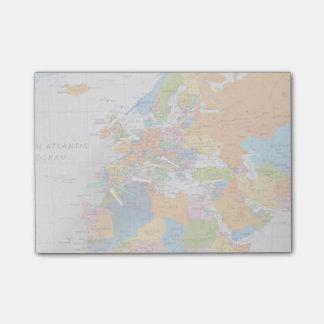 Bloco Post-it Mapa colorido do viagem