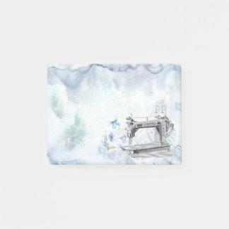 Bloco Post-it Máquina de costura da aguarela azul do vintage com