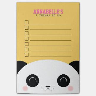 Bloco Post-it Miúdos bonitos da cara da panda de Kawaii para