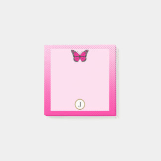 Bloco Post-it Monograma cor-de-rosa da borboleta dos pontos de