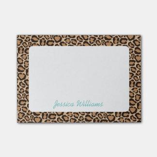 Bloco Post-it Monograma do costume do impressão do leopardo