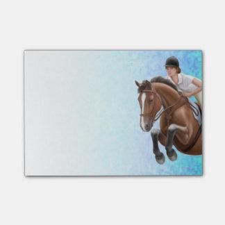 Bloco Post-it Mostre a cavalo de salto notas de post-it