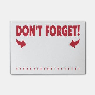 Bloco Post-it Não esqueça a atenção que obtem o lembrete