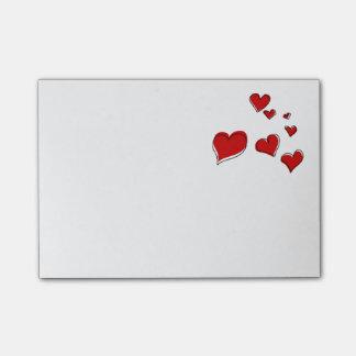 Bloco Post-it Nota dos corações de sangramento