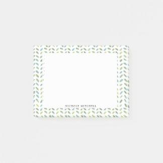 Bloco Post-it Notas de azuis e verdes da aguarela da
