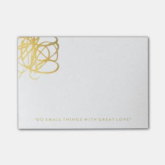 Bloco Post-it Notas de post-it chiques do efeito do ouro
