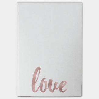 Bloco Post-it Notas de post-it cor-de-rosa do amor do ouro