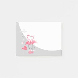 Bloco Post-it Notas de post-it da lua do amor do flamingo