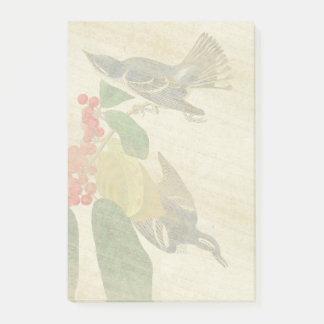 Bloco Post-it Notas de post-it das flores dos pássaros da