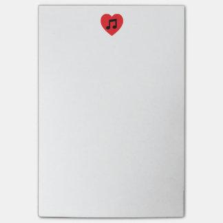 Bloco Post-it Notas de post-it do coração 4 x 6 da nota da