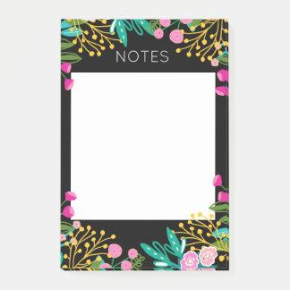 Bloco Post-it Notas de post-it florais brilhantes