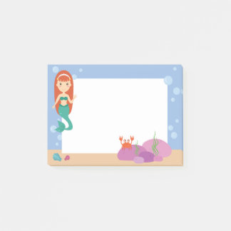 Bloco Post-it Notas de post-it para sereias. Menina subaquática