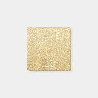 Bloco Post-it Notas de post-it personalizadas brilho do ouro do