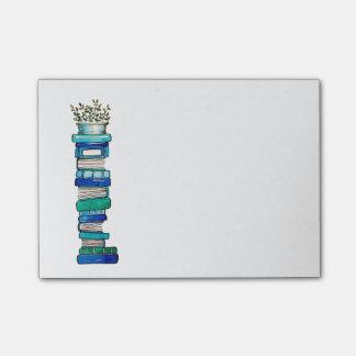 Bloco Post-it Notas pegajosas da pilha do azul & do Livro Verde