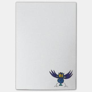 Bloco Post-it O Cargo-it® azul da coruja de JMCdesign nota 4 x 6