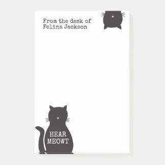 Bloco Post-it O gato preto engraçado personalizado ouve Meowt