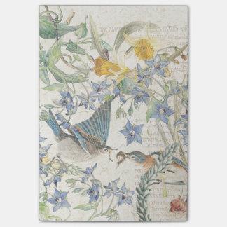Bloco Post-it O narciso dos pássaros do Bluebird floresce notas