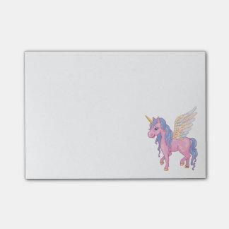 Bloco Post-it O unicórnio bonito com arco-íris voa a ilustração