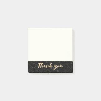 Bloco Post-it Obrigado da caligrafia do ouro você com os pontos