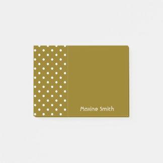 Bloco Post-it Olmo dourado bolinhas personalizadas