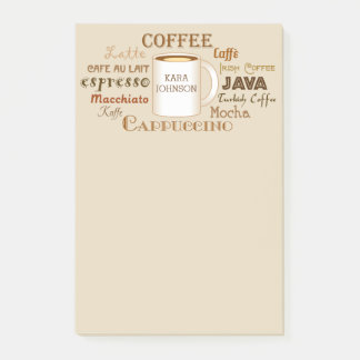 Bloco Post-it Os nomes do café personalizaram notas de post-it