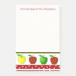 Bloco Post-it Os professores coloridos das maçãs personalizaram