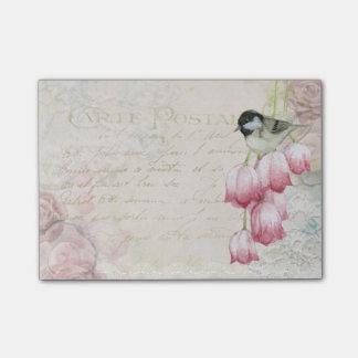 Bloco Post-it Pássaro e flores com vintage gasto da escrita