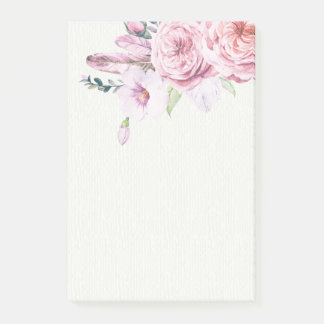 Bloco Post-it Pena floral de Boho da aguarela natural elegante