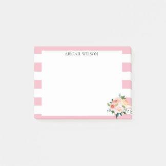 Bloco Post-it Peônias cor-de-rosa do primavera das listras