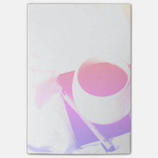 Bloco Post-it Pequeno almoço do copo de café do arco-íris no chá