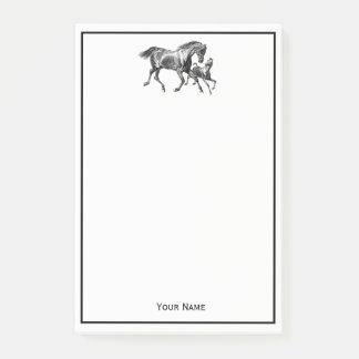 Bloco Post-it Potro do bebê da mãe dos cavalos quadro