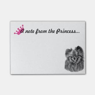 Bloco Post-it Princesa Nota de Pomeranian com trabalhos