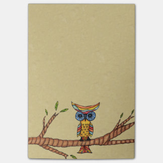 Bloco Post-it Ramo de árvore colorido extravagante da coruja