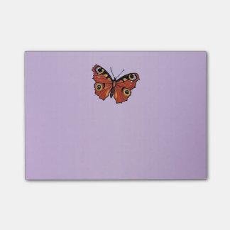 Bloco Post-it Roxo vívido bonito da borboleta de monarca