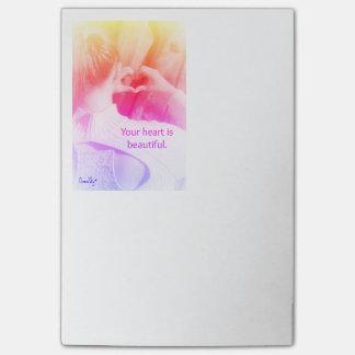 """Bloco Post-it """"Seu coração é"""" notas de post-it bonitas/almofada"""