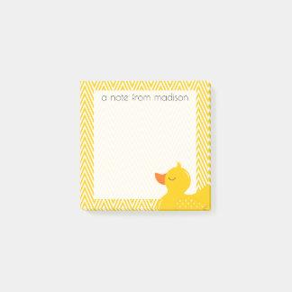 Bloco Post-it Seu texto | Chevron Ducky de borracha