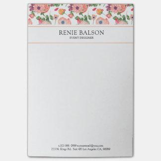 Bloco Post-it Teste padrão floral colorido bonito