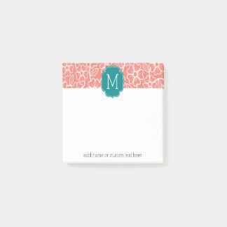 Bloco Post-it Teste padrão floral Funky com monograma feito sob