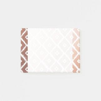 Bloco Post-it Teste padrão tribal cor-de-rosa da folha de ouro