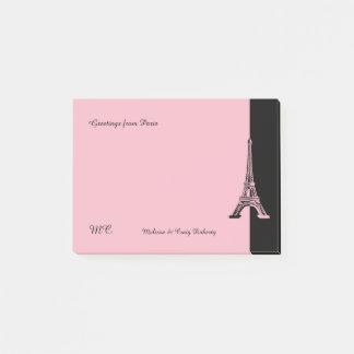 Bloco Post-it Torre Eiffel rosa pálido