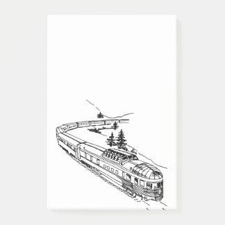 Bloco Post-it Trem do vintage na ilustração das montanhas