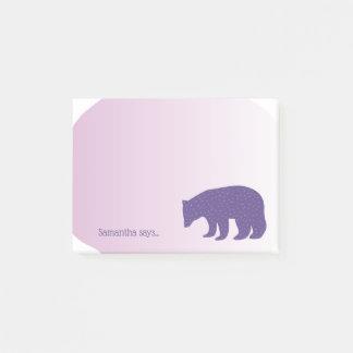 Bloco Post-it Urso escandinavo roxo ultravioleta na moda do