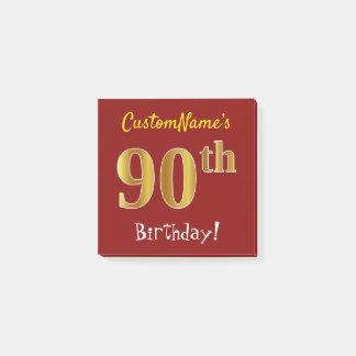Bloco Post-it Vermelho, aniversário do 90 do ouro do falso, com