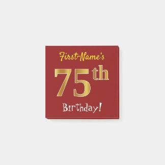 Bloco Post-it Vermelho, aniversário do ouro do falso 75th, com